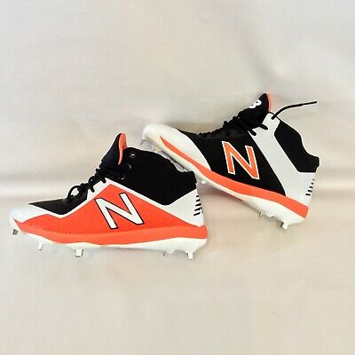 New Balance Mens Size 9.5 Mid Cut 4040V4 Metal Baseball Cleat Shoes Black Orange