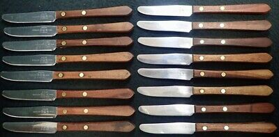16 vintage  Foodservice Edward Don & Company Wood Handle Dinner Knives Flatware