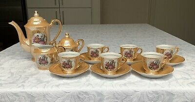 VINTAGE JAPANESE PEACH LUSTREWARE COFFEE SET For 6, IMMACULATE CONDITION