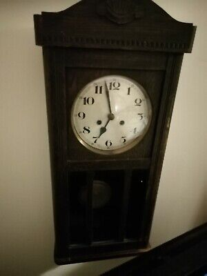 (1402) BROWN WOODEN GLASS FRONTED LONG CASE WALL CLOCK  MADE IN VIENNA I(1930s)