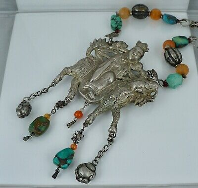 Silver Chinese Export Silver Horse Warrior Silk Turquoise Necklace Antique Old