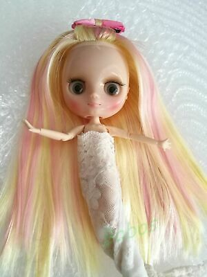 "12/"" Neo Blythe Doll From Factory Jointed Body Pink Mixed White Long Curly Hair"