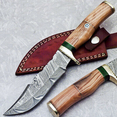 "Custom Hand Forged Damascus 10"" Hunting Knife With Olive Wood Handle - St-5427"