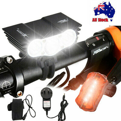Super Bright 20000LM X3 X2 LED Bicycle Front Head Light Bike Headlamp Rear Light