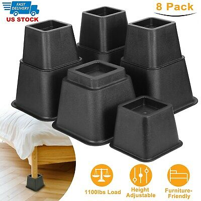Bed Risers 4 Piece Black Frame Stable Furniture Table Lift Storage Under Bed
