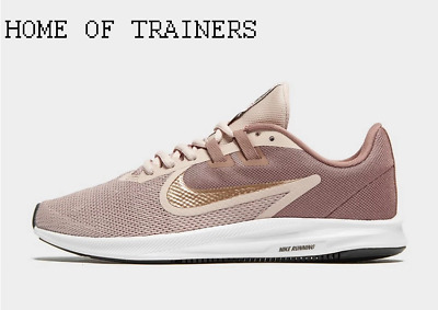 Nike Downshifter 9 Brown Gold White Girls Women's Trainers All Sizes