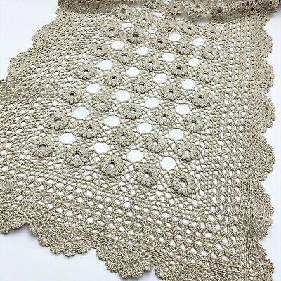 Crochet Ecru Cotton Table Runner, 112 x 32cm, Unusual Daisy Chain Medallions