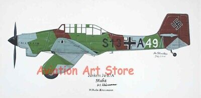 Junkers Ju-87, Autographed Stuka Painting, Aviation Art, Ernie Boyette