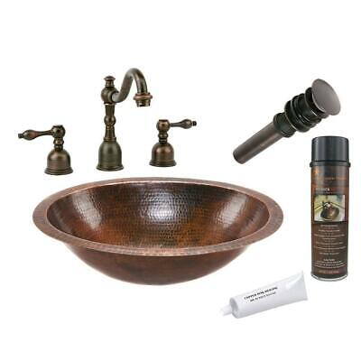 Oval Bathroom Sink Under Counter Hammered Copper Faucet Drain Oil Rubbed Bronze