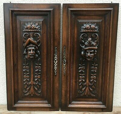 Big antique pair of german furniture doors early 1900's black forest woodwork