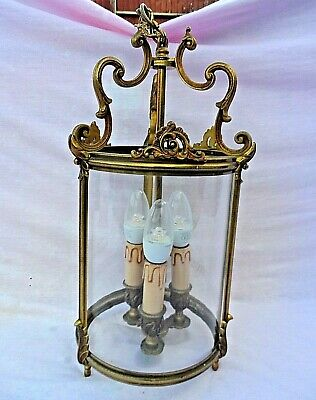 Vintage / Antique Cast Brass 3 Stem Enclosed Chandelier / Ceiling Light Vgc Gwo