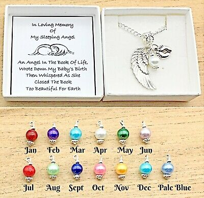 Baby Loss. In Loving Memory Gift. Angel Wing/Heart Charm Necklace. Gift Box.
