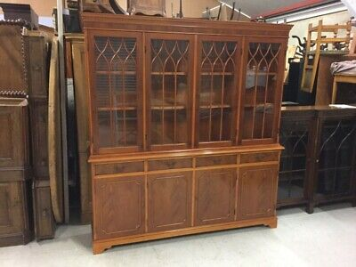 Yew Wood Four Door Library Bookcase by Mercury