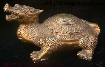 Folk China Brass Feng shui Dragon Tortoise Loong Turtle Animal Beast Coin Statue