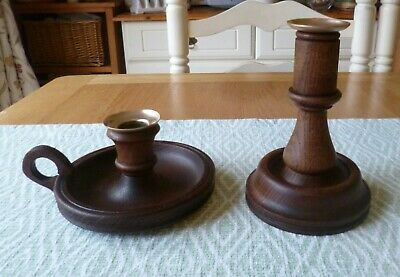 Stunning Pair of Antique Solid Oak and Brass Candlesticks-Gorgeous Aged Patina