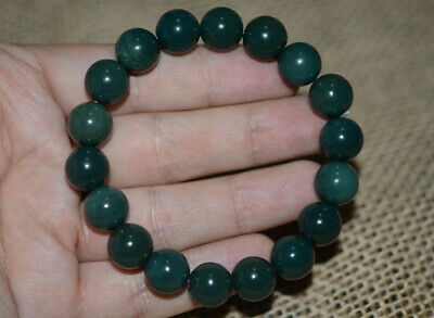 Fine China 100% Natural handcarved old agate green beads lucky Bracelet