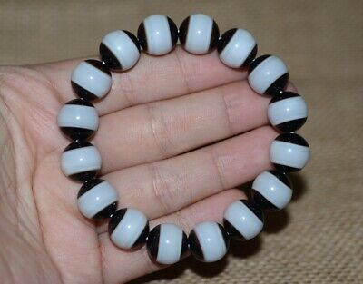 China Natural handcarved old agate one Line Pharmacist Dzi beads Amulet Bracelet