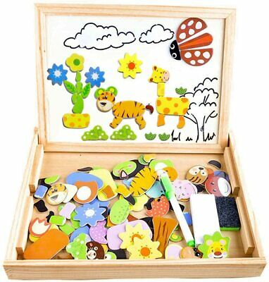 Wooden Magnetic Board Puzzle Games 100+ PCS Double Sided Jigsaw Farm Pattern