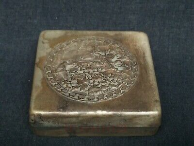 Collection Old China Tibet Silver Handmade Flower Figure Ink Box or Snuff Box