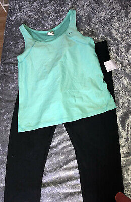 Nike XL Green Gym Top Used & Yogalicious New XL Leggings Black Sports