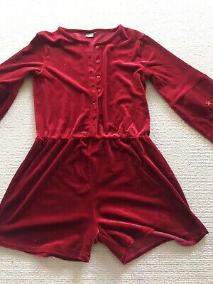 Gotgeous Red Velour Girls Playsuit By Next 11 Years Vgc