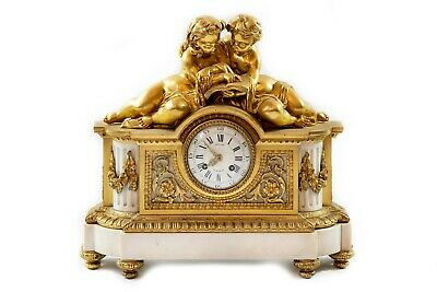French 19th century Louis XVI gilded bronze and marble mantel clock