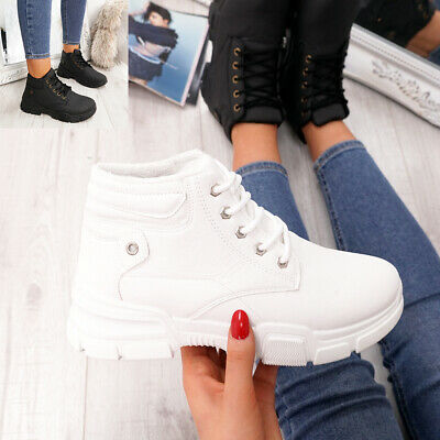 New Womens Ladies Lace Up High Top Trainers Sneakers Women Boots Shoes Size