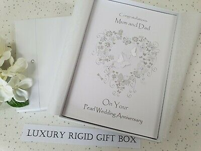 Luxury Pearl 30th Wedding Anniversary Card Handmade Personalised son daughter