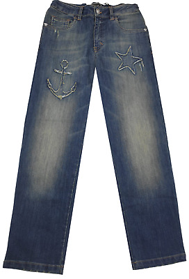 NEW Young Versace RRP £219 Designer Boys Blue Jeans AGE 12 Pants Kids A308