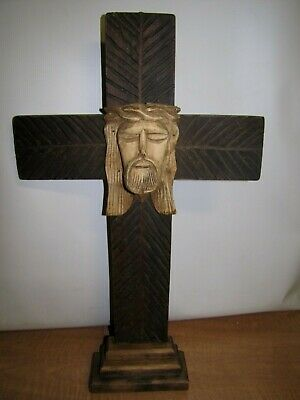 "Antique Large 22"" Hand carved Wooden Cross Crucifix Jesus"