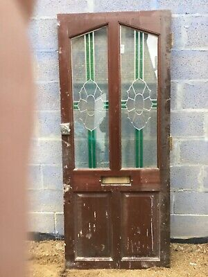 VINTAGE solid front door with original STAINED GLASS panel