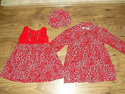 GIRLS 3 PIECE WINTER SET- COAT, DRESS, HAT age 4 yrs from BUTTERFLY WINGS in VGC
