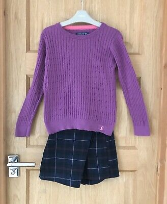 JOULES NEXT *7-8y GIRLS LOVELY JUMPER TOP CHECKED SHORTS SKIRT OUTFIT 7-8 YEARS
