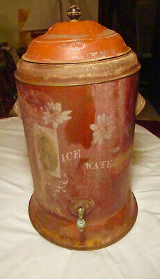 Antique Galvanized & Hand Painted Insulated Water Cooler.