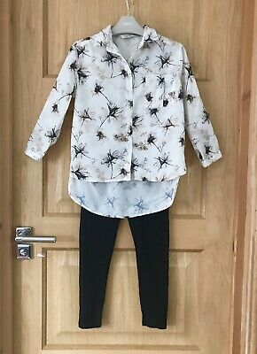 RIVER ISLAND *5y  GIRLS FLORAL BLOUSE & BLACK TROUSERS 5 YEARS (5-6y)