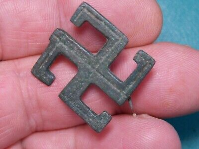 Ancient Roman bronze brooch fibula in shape of swastika,intact,dating 4th A.D.