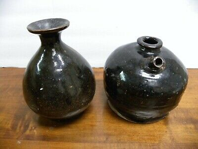 A Pair Of Chinese Brown Glazed Pottery Wine Bottle & Jug