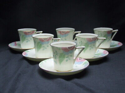 """Royal Doulton, Art Deco, """"Nerissa"""" 6 Coffee Cups & Saucers"""
