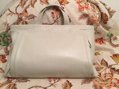 Vintage Soft Leather Cream Tula Handbag Tote Genuine Leather Vgc