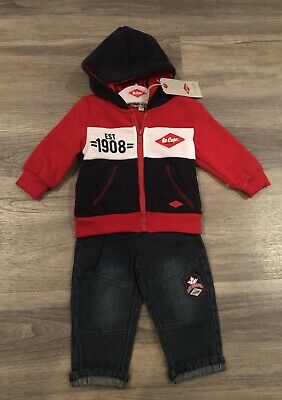 BNWT LEE COOPER Baby Boy Hoody And Jeans Outfit Set Age 3-6 Months RRP £30