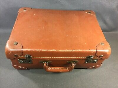 Antique Small Suitcase Brown Travel Vintage Storage Clothing