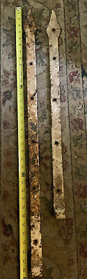"""Primitive Antique Hand Forged Barn Door Strap Hinges Gate Iron 35"""" MASSIVE RARE"""