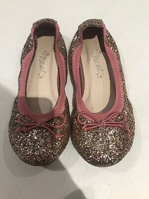 Next Girl`s Shoes Flexi Bow Ballerinas PINK AND GOLD SIZE 11 Infant