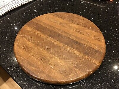 Solid Oak End Grain Cutting Board Circular Handmade