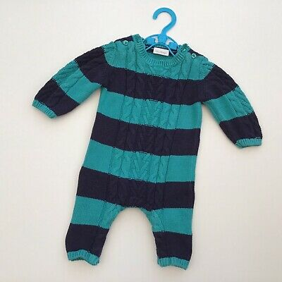 Baby Boy Clothes 0-3 Months Next Navy Turquoise Knit Romper Playsuit Outfit