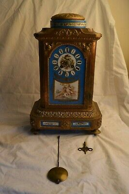 Antique French Sevres Blue Porcelain Panel Cherub Putti Bird Bronze Mantle Clock