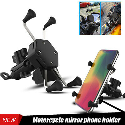 """Motorcycles 3.5-7.0/"""" Phone GPS LED Mount Holder Bracket With 5V 1.8A USB Charger"""