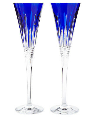 Waterford Crystal LISMORE DIAMOND COBALT Blue Champagne Flutes PAIR - NEW / BOX!
