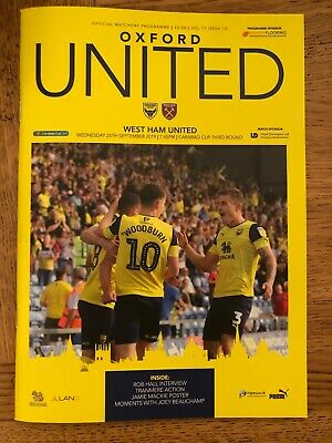 Oxford United v West Ham Utd - League Cup 3rd Round - Played 25th September 2019