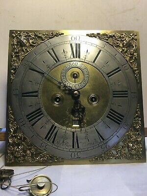 Antique Early 18TH Century 8 Day Longcase Clock Movement & Brass Dial